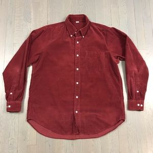 UNIQLO Red Corduroy Long Sleeve Button Down Shirt